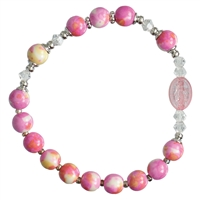 Rosary Bracelet Children Gemstone Pink 6mm  RCB41