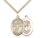 "Gold Filled St. Christopher/Volleyball Pendant, Gold Filled Lite Curb Chain, Medium Size Catholic Medal, 3/4"" x 1/2"""