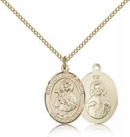 "Gold Filled Our Lady of Mount Carmel Pendant, Gold Filled Lite Curb Chain, Medium Size Catholic Medal, 3/4"" x 1/2"""