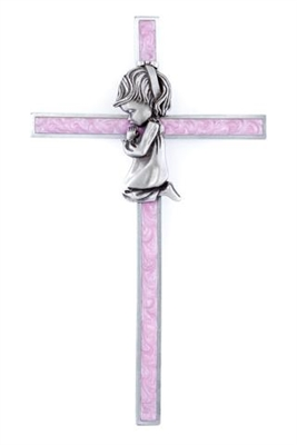 "6"" Girl Pink Epoxy Wall Cross JC-10033-E"