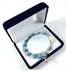 Blue and Cream Rosebud Bead Rosary Bracelet