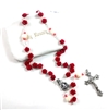 White Red Rose Bead Rosary
