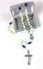 Cream and Blue Rosebud Rosary 95133-130-CEI