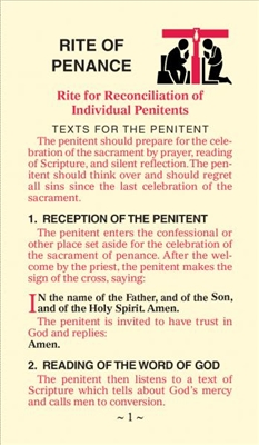 Rite of Penance: Rite for Reconciliation of Individual Penitents 526/C