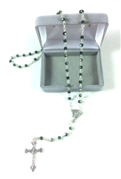 Green Emerald Glass Bead Rosary 990151-11