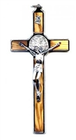 "ST. BENEDICT OLIVE WOOD 5"" WALL CRUCIFIX"