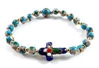 Blue Two-Tone Cloisonne Bead Cross Rosary Bracelet