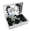 Silver Plated Genuine Black Cocoa Bead Rosary