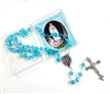 Blue Glass Bead Rosary with Relic touched to Lourdes Grotto
