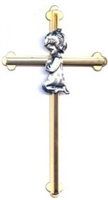 "8"" Girl Pewter on Bronze Wall Cross NC300/G"