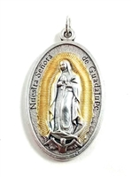 Our Lady of Guadalupe Large Oxidized  Medal