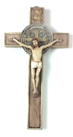 Hand painted Saint Benedict Wall Crucifix 445M