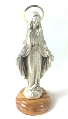 "5"" Silver Our Lady of Grace Statue with Wood Base 68200"