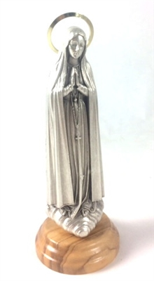 "5"" Silver Our Lady of Fatima Statue with Wood Base 68201"