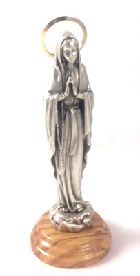 "5"" Silver Our Lady of Lourdes Statue with Wood Base 68202"