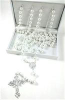 10mm Pearl Silver Lasso Rosary 26-559