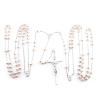 12mm Pearl Silver Lasso Rosary 26-661