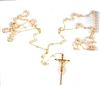 12mm Pearl Gold Lasso Rosary 26-663