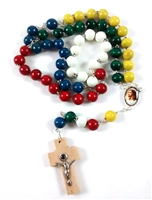 Mission Round Bead Rosary with Lens Crucifix