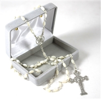 Delicate Mother of Pearl Silver Plated Rosary