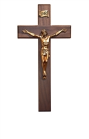 "12"" Walnut Bronze Crucifix W01G12"