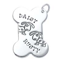 Large Bone Charm, 2 Dogs