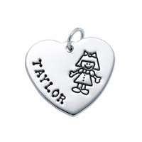 Large Heart Charm - Full Character Girl