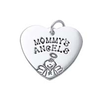 Large Heart Charm - Half Character Male Angel