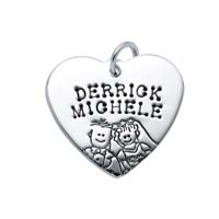 SE Large Heart Charm - Half Character Groom and Bride