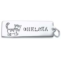 Large Rectangle Charm - Cat