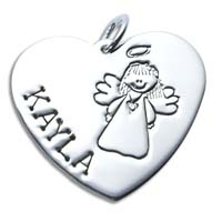 X-Large Heart Charm - Angel