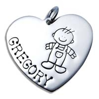 X-Large Heart Charm - Boy