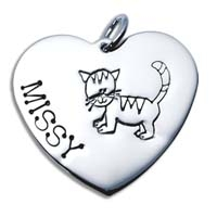 X-Large Heart Charm - Cat