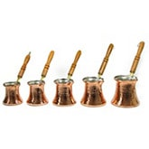 Set of Turkish Coffee Makers with wood handles