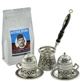 Engraved Turkish Coffee Set - w/ Wooden Handle