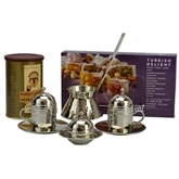 Hand Hammered Turkish Coffee Set for Two with Coffee and Delight - Nickelized