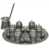 Engraved Turkish Coffee Set for Six - Nickelized