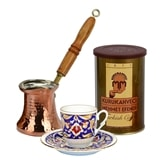 Turkish Coffee Set for One with Mehmet Efendi coffee - Blue, Gold & Red