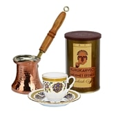 Turkish Coffee Set for One with Mehmet Efendi coffee - Red and Green Set