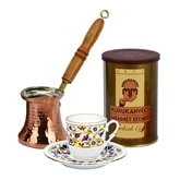 Turkish Coffee Set for One with Mehmet Efendi coffee - Blue and Gold Set