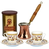 Turkish Coffee Set for Two with Mehmet Efendi coffee - Carnation