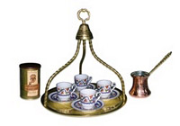 Turkish Coffee Set for Four with Tray and Mehmet Efendi coffee