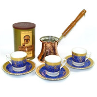 Turkish Coffee Set for Two with Mehmet Efendi coffee - Blue