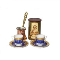 Turkish Coffee Set for 2 with Mehmet Efendi coffee - Blue & Gold