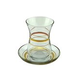 Gurallar Ajda Tea Glasses with Gold Band - Set of 6