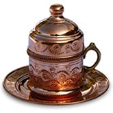 Turkish Coffee Cup with Saucer - copper