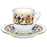 Turkish Coffee Cup with Saucer (Porcelain) - Tulip I