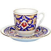 Turkish Coffee Cup with Saucer (Porcelain) - Blue & Gold
