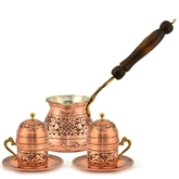 Engraved Turkish Coffee Set for Two with Inlay handles
