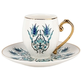 Turkish Coffee Cup Set for Two - Iznik